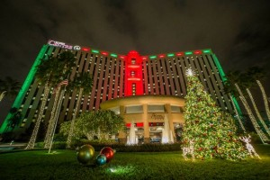 Rosen Centre Hotel, International Drive, all aglow for the holidays.